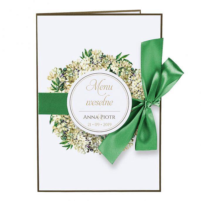 Menu weselne z kwiatami bzu w2