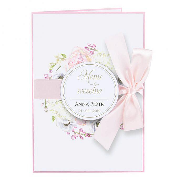 Menu weselne Florals w10