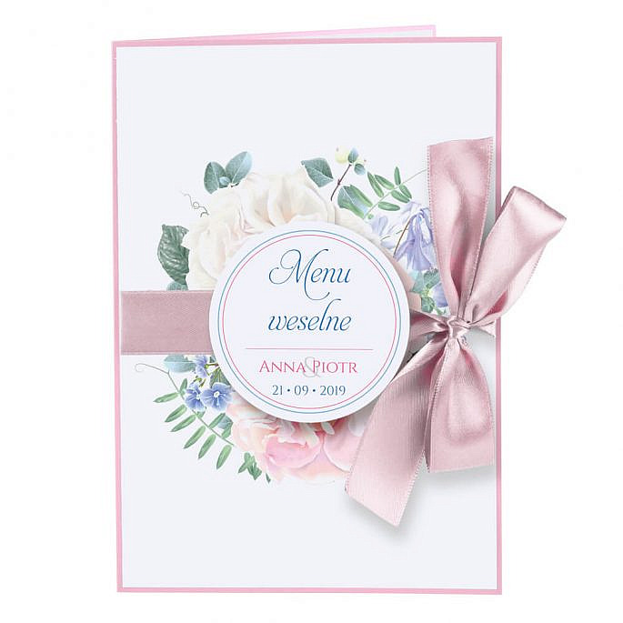 Menu weselne Florals w11