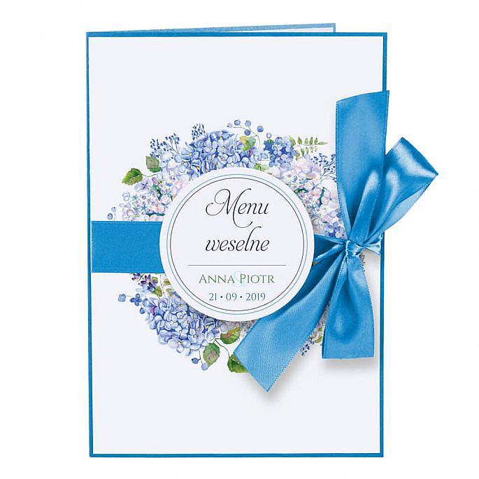 Menu weselne z kwiatami Hortensji w4