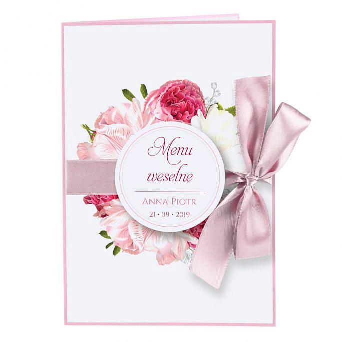 Menu weselne z kwiatami Piwonii w12