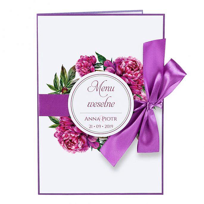 Menu weselne z kwiatami Piwonii w14