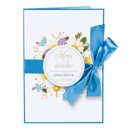Menu weselne z kwiatami polnymi w2