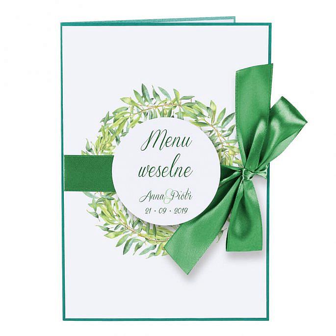 Menu weselne z gałązkami oliwnymi