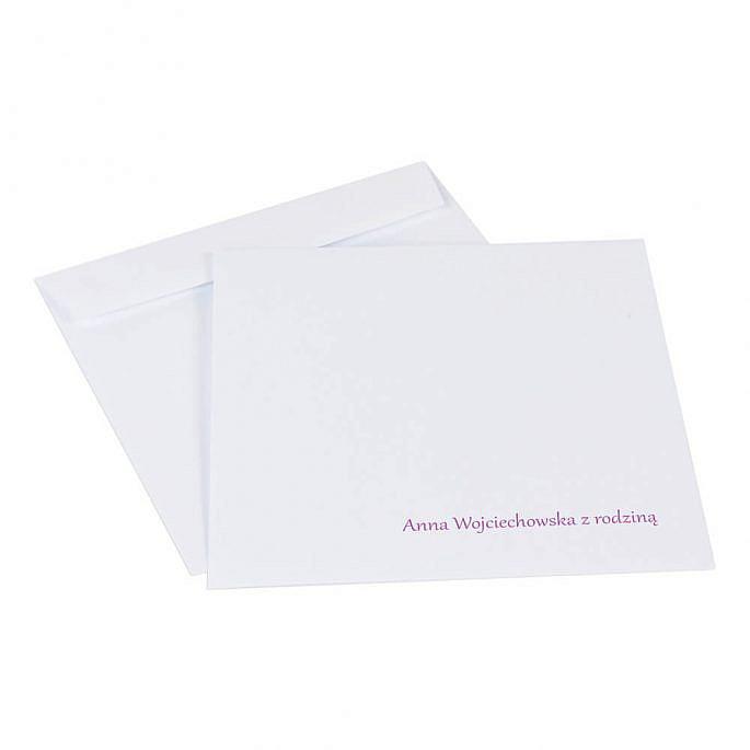 koperta do zaproszeń ślubnych z kolorowym nadrukiem nazwisk gości