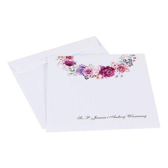 koperty do zaproszeń ślubnych z kolorowym nadrukiem kwiatowym