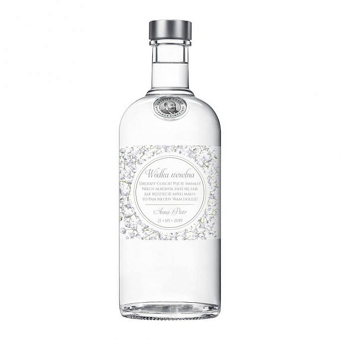 Naklejki na alkohol z kwiatami Gipsówki