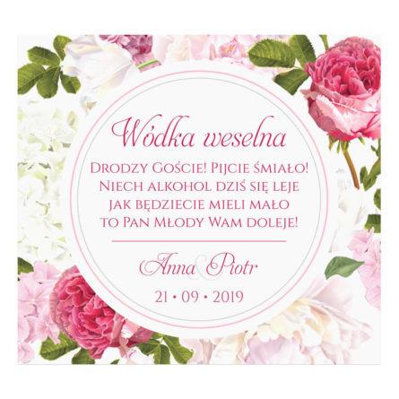Naklejki na alkohol z kwiatami Piwonii w11