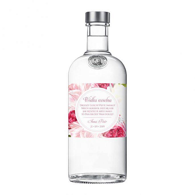 Naklejki na alkohol z kwiatami Piwonii w12