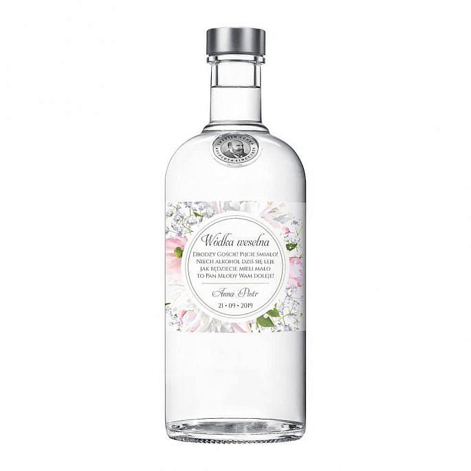 Naklejki na alkohol z kwiatami Piwonii w13