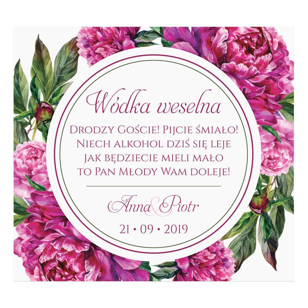 Naklejki na alkohol z kwiatami Piwonii w14