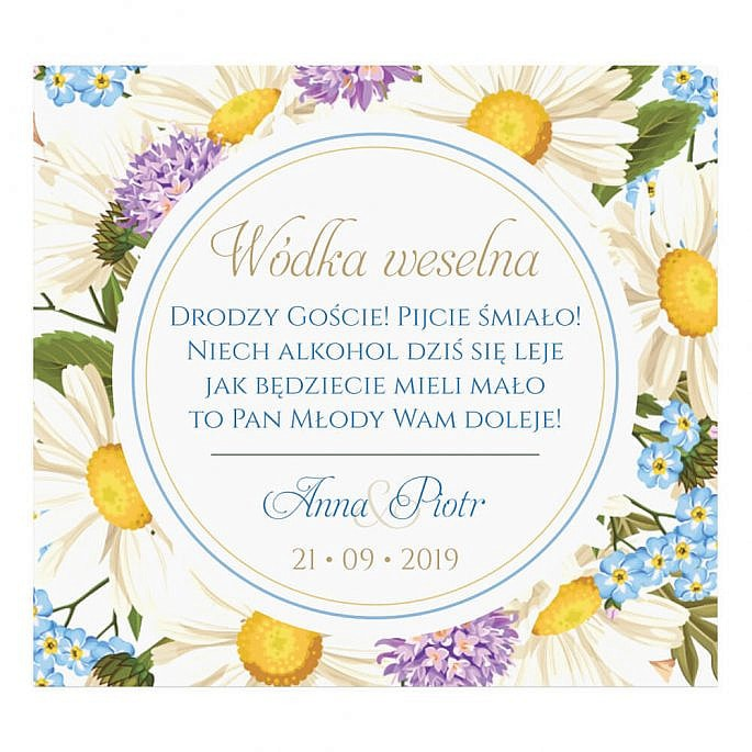 Naklejki na alkohol z kwiatami polnymi w2