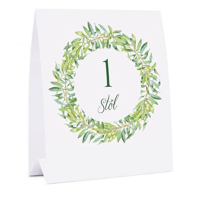 Numer na stół z gałązkami oliwnymi
