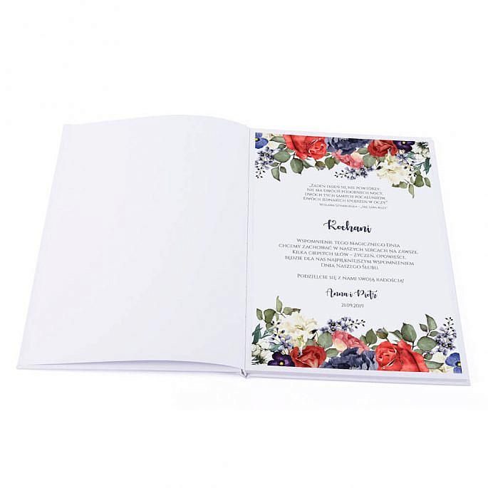 pierwsza wewnętrzna strona księgi gości z motywem kwiatowym róże