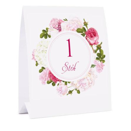 Numer na stół z kwiatami Piwonii w11