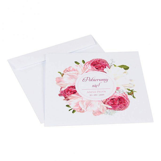 Zaproszenia ślubne z kwiatami Piwonii w12 koperta