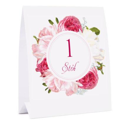 Numer na stół z kwiatami Piwonii w12