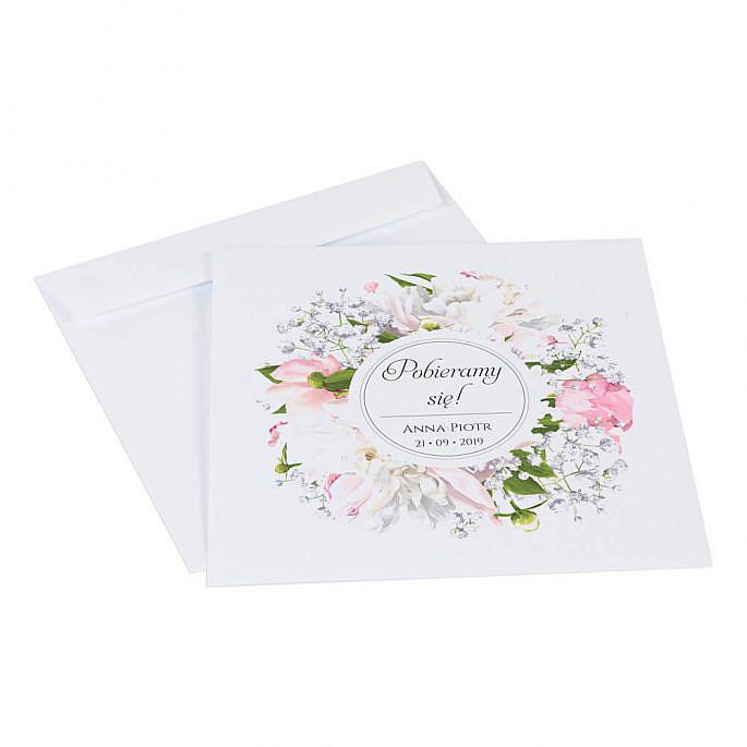 Zaproszenia ślubne z kwiatami Piwonii w13 koperta