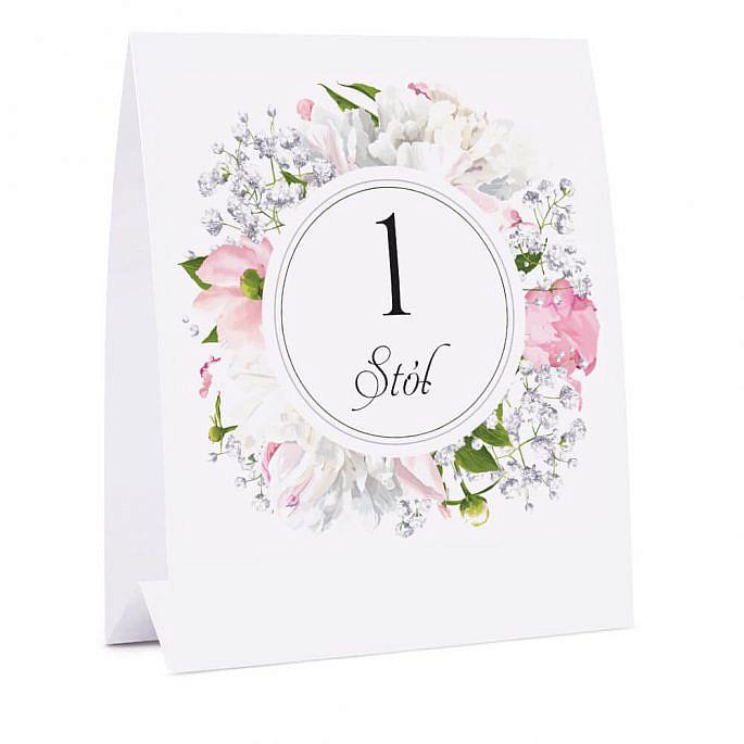 Numer na stół z kwiatami Piwonii w13