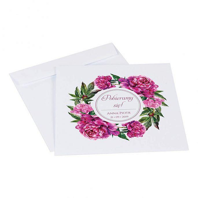 Zaproszenia ślubne z kwiatami Piwonii w14 koperta