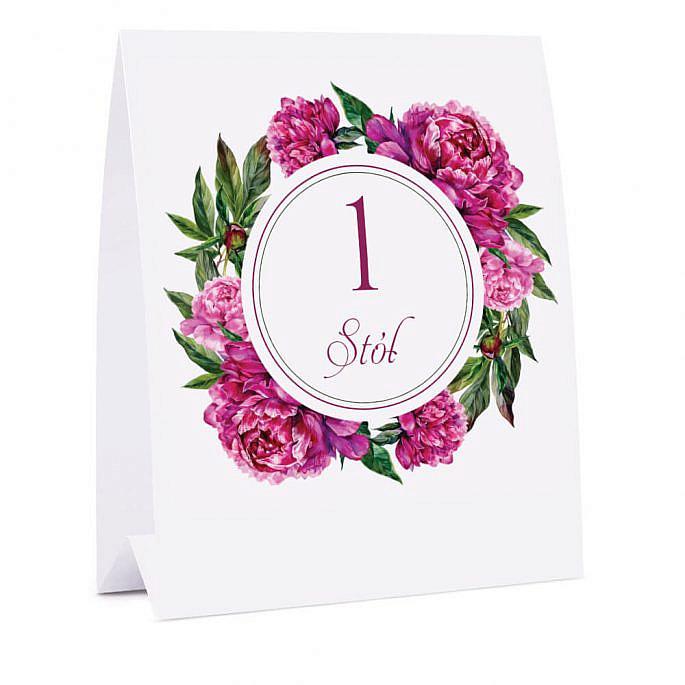Numer na stół z kwiatami Piwonii w14
