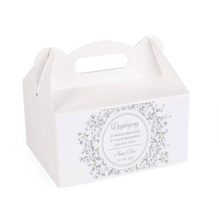 Pudełko na ciasto z kwiatami Gipsówki