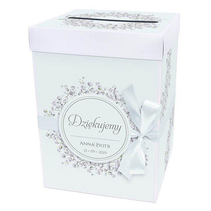 Pudełko na koperty z kwiatami gipsówki