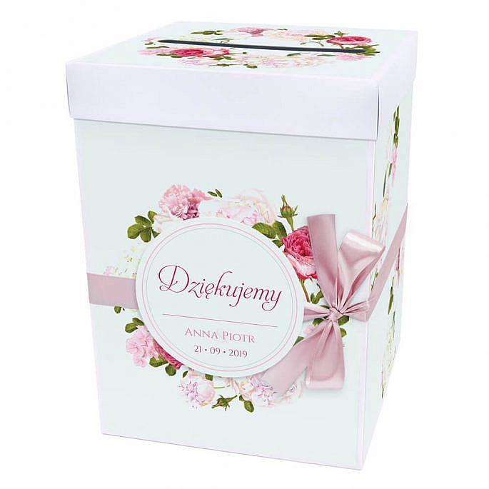 Pudełko na koperty z kwiatami piwonii w11