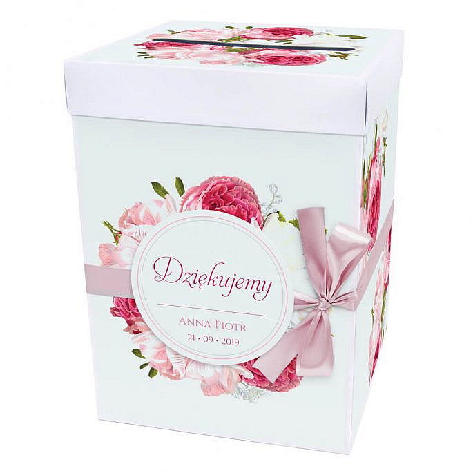 Pudełko na koperty z kwiatami piwonii w12