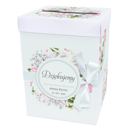 Pudełko na koperty z kwiatami piwonii w13
