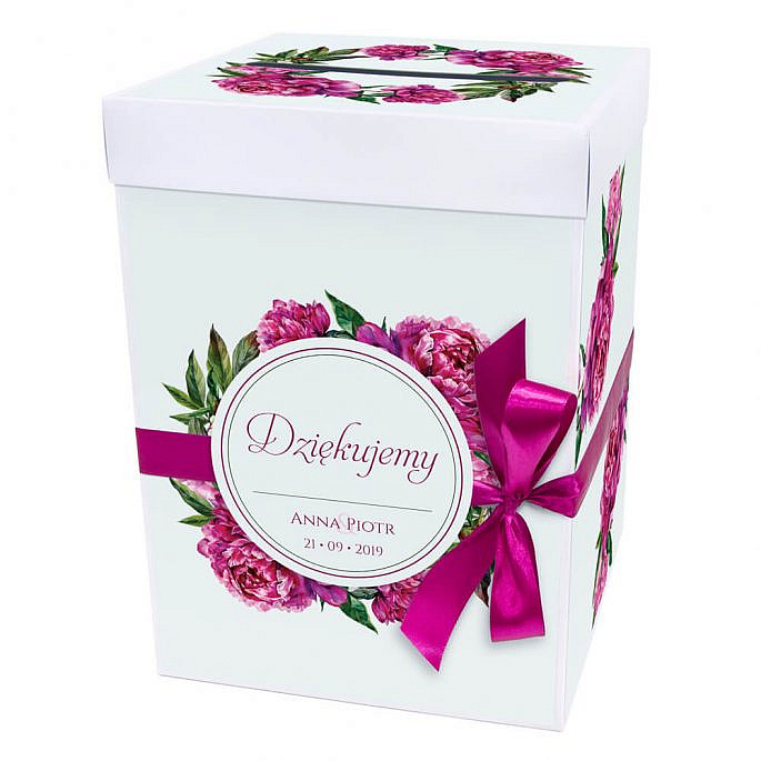 Pudełko na koperty z kwiatami piwonii w14