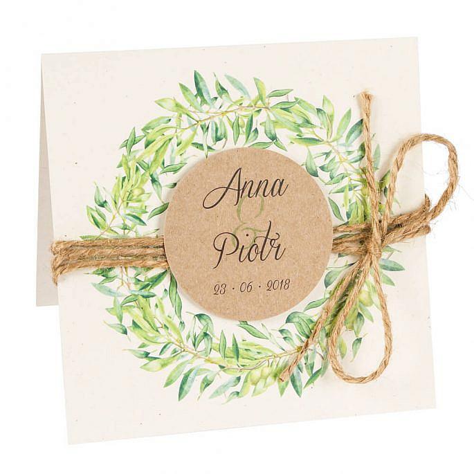 Zaproszenia ślubne z gałązkami oliwnymi