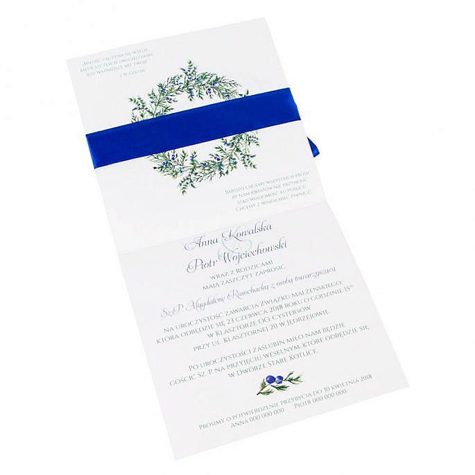 Zaproszenia ślubne z gałązkami jałowca