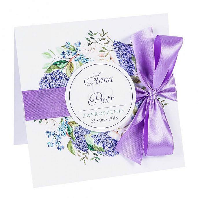 Zaproszenia ślubne z kwiatami bzu