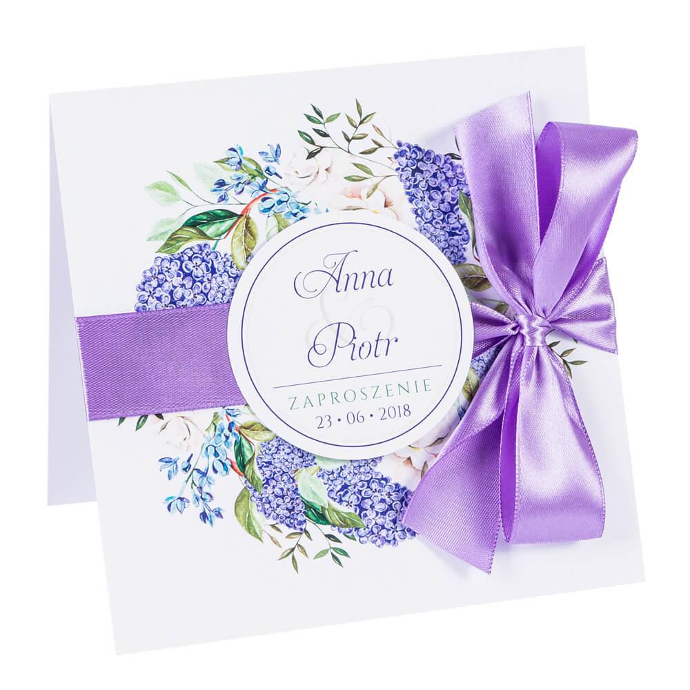 Zaproszenia ślubne Z Kwiatami Bzu Koperta I Personalizacja
