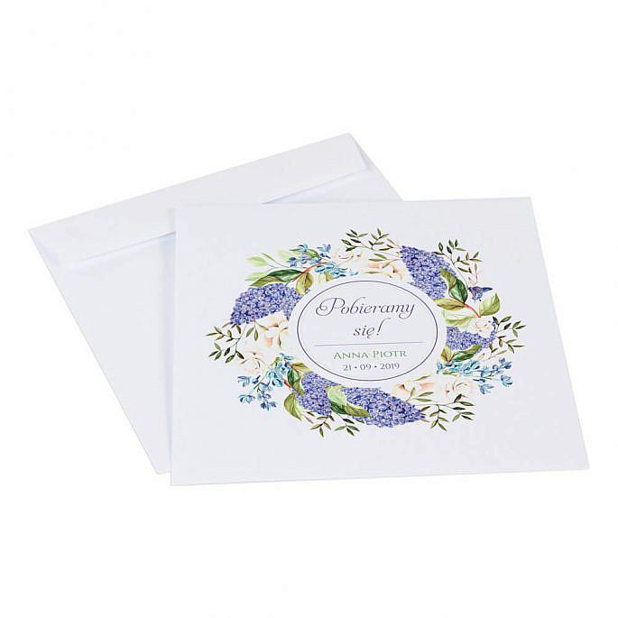 Koperta do zaproszeń ślubnych z kwiatami bzu