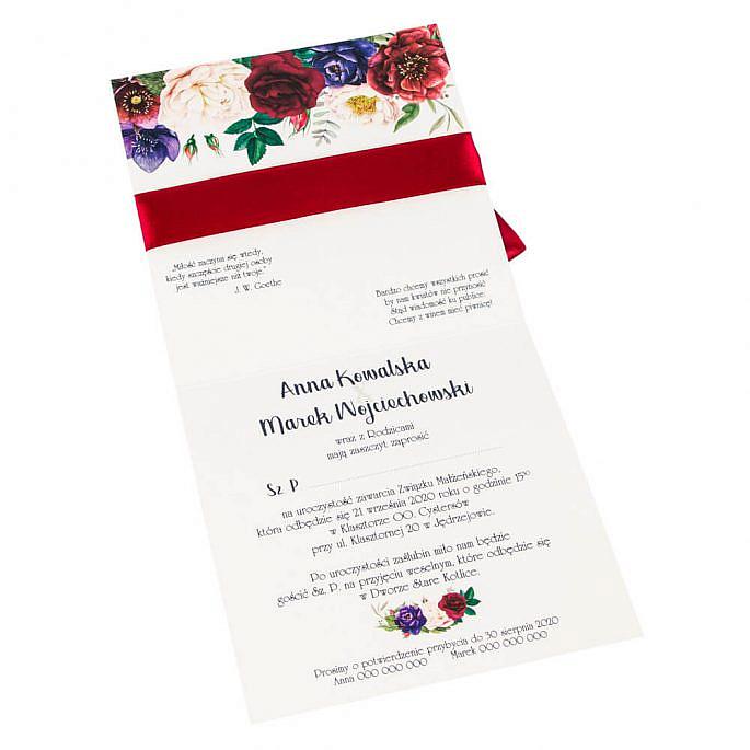 Zaproszenia ślubne tekst wewnątrz zdobienie zaproszeń