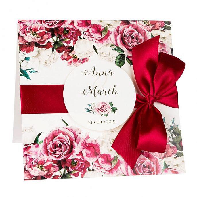 Zaproszenia ślubne z kwiatami róż