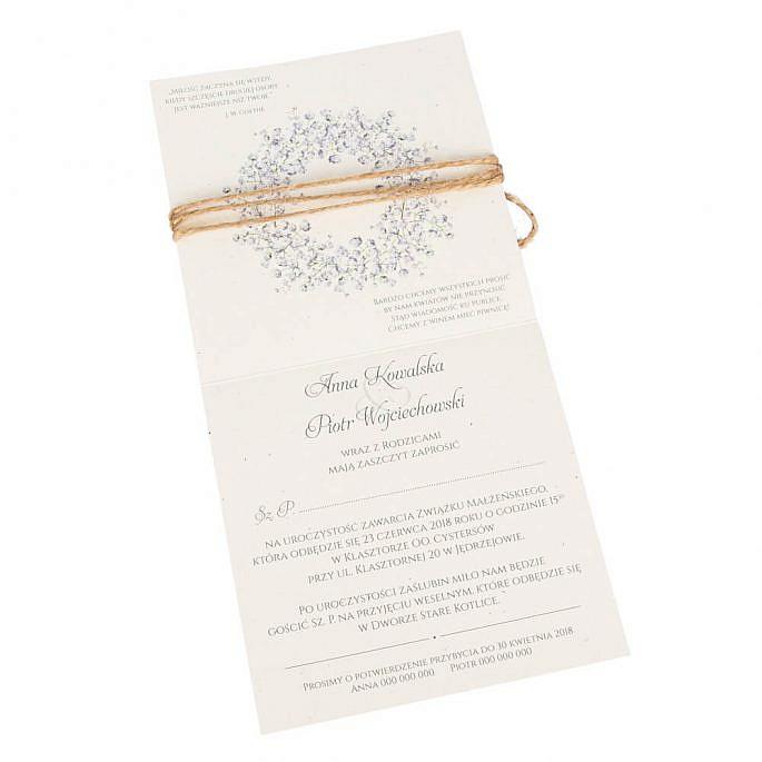 Zaproszenia ślubne z kwiatami Gipsówki