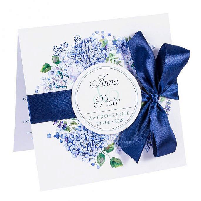 Zaproszenie ślubne z kwiatami hortensji