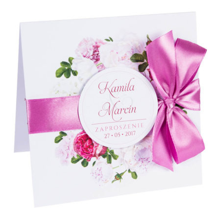 Zaproszenia ślubne z kwiatami Piwonii w11