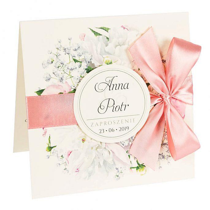 Zaproszenia ślubne z kwiatami Piwonii w13