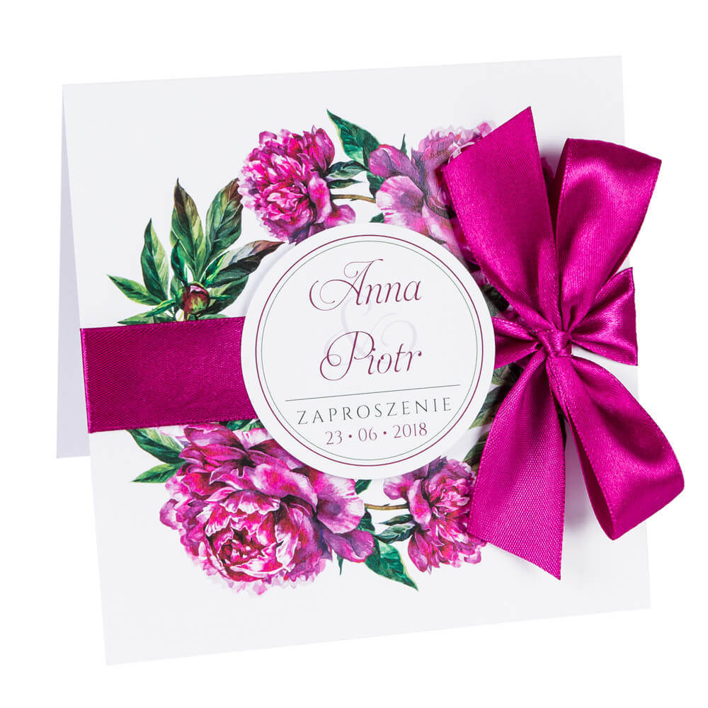 Zaproszenia ślubne z kwiatami Piwonii w14