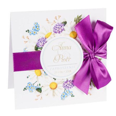 Zaproszenia ślubne zkwiatami polnymi w2