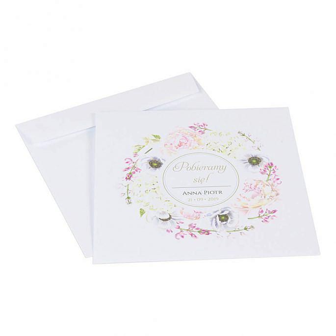 Koperta do zaproszeń ślubnych z motywem kwiatowym Florals w10