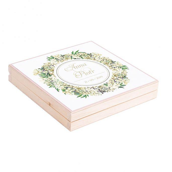 Podziękowanie w drewnianym pudełku z kwiatami bzu w2