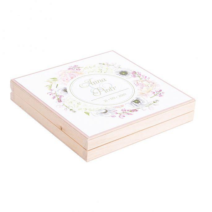 Podziękowanie w drewnianym pudełku Florals w10
