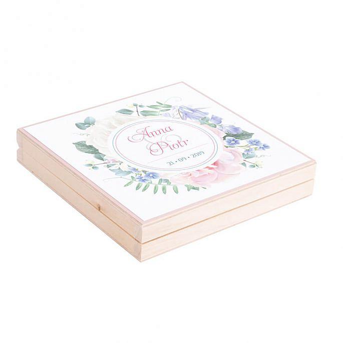 Podziękowanie w drewnianym pudełku Florals w11