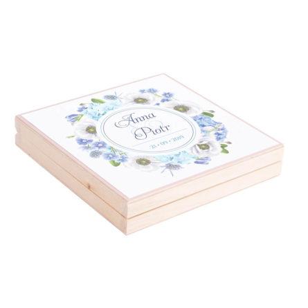 Podziękowanie w drewnianym pudełku Florals w12