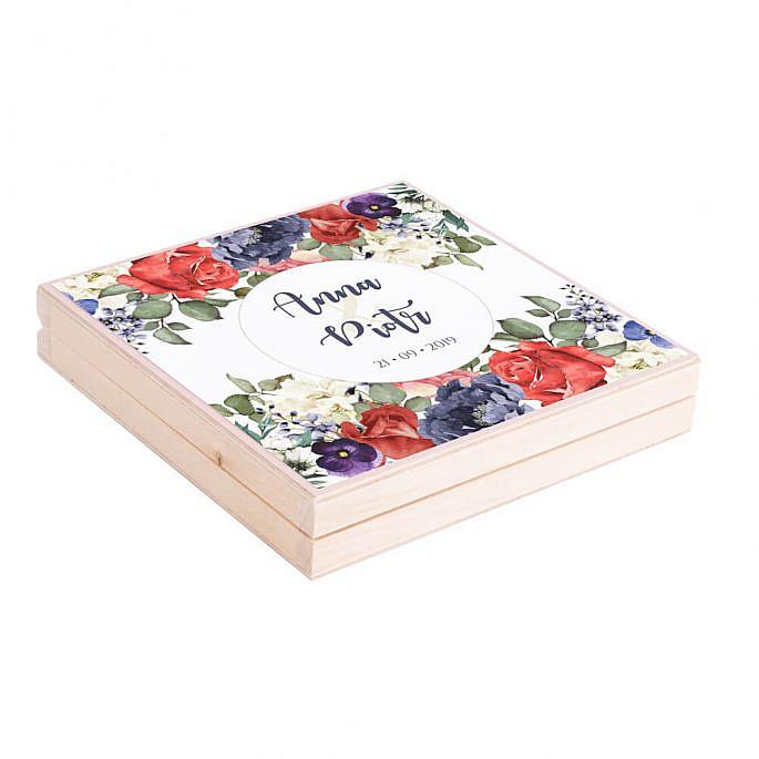 Podziękowanie w drewnianym pudełku Flowery